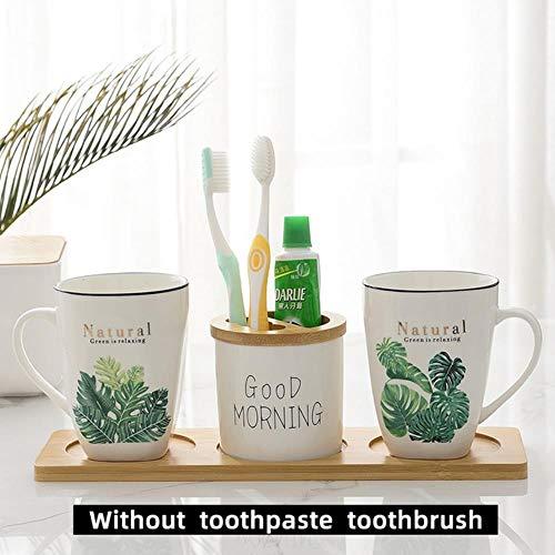 Unbekannt Nordic Summer Wind Keramik Bambus Badezimmer Becher Kinder Bürsten Tasse Paar Mund Tasse Zahnbürste Zahnpasta Waschbecher Set, Grüne Pflanze