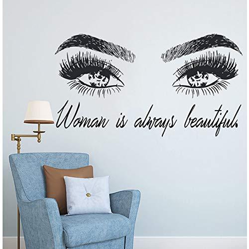 Zxdcd Frau Make Up Wandaufkleber Augen Wimpern Wandtattoo Wimpern Erweiterungen Beauty Shop Dekor Augenbrauen Augenbrauen Wandbild Schönheit Geschenk 77X42Cm