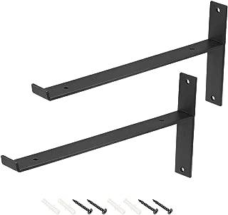 uxcell Wall Shelf Brackets 110lbs Heavy-duty 12-inch X 6-inch Metal Shelf Supports Corner Brace with Lip 2pcs
