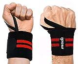 IPOW 2Pcs Protège-Poignets avec Bande de Force Réglable, Bandage Serre Poignet dans Musculation/Gymnastique/Fitness/Crossfit/Sport/Bodybuilding, Wrist Wraps Maintien Poignets pour Femme/Homme,Rouge