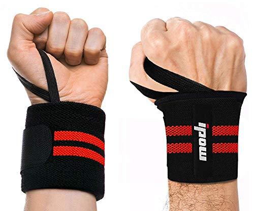 ipow 2 PZ Polsiere palestra Fasce palestra polsi Fasce da Polso Professionali Anti-sudore Flessibile con cinturino regolabile perfetto per sollevamento pesi, crossfit, bodybuilding, Nero/Rosso