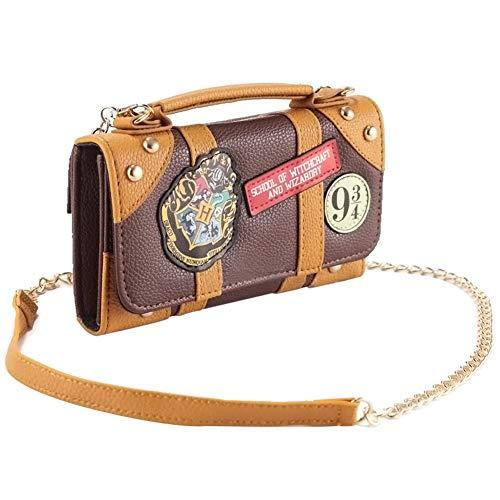 Tasche Harry Potter Hogwarts Hybrid Handtasche und Geldbörse mit Kette 18, 5x11x4,5cm braun Damen-Schultertaschen Mini Kurze Handtasche