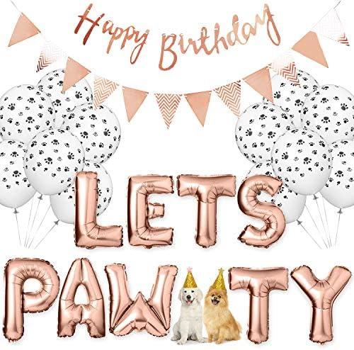 Legendog Dog Birthday Party Supplies Dog Paw Print Balloons Cat Birthday Hat Happy Birthday product image