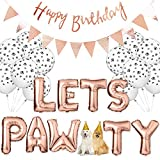 Legendog Dog Birthday Party Supplies Dog Paw Print Balloons Cat Birthday Hat Happy Birthday Banner Foil Balloons Lets Pawty Letters Balloons Decorations (Rose Red)
