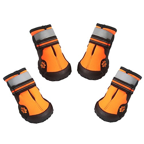 ASMPET Dog Rainboots Waterproof Dog Shoes with Reflective Strap Nonslip Sole Dog Shoes for Hot Pavement 4 Pacs Orange 04
