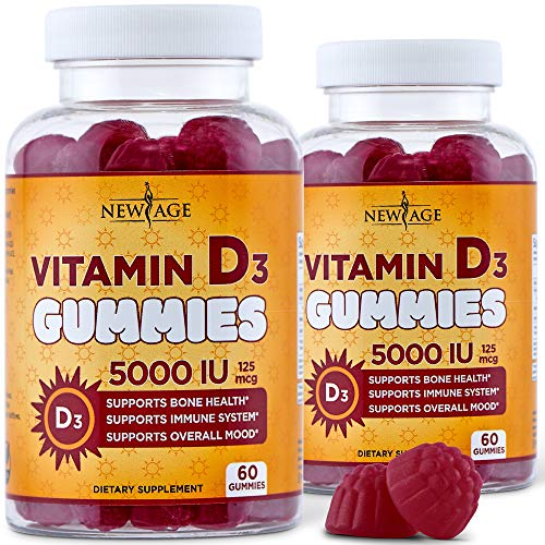 Organic Vitamin D3 Gummies by New Age - 2 Pack - 120 Count - Non-GMO, Gluten-Free, Dairy-Free, No Gelatin - 5000 IU 125mcg