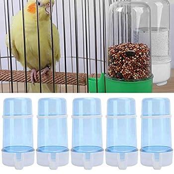 5 Pcs Buveur d'oiseaux 415 ML Distributeur d'eau Automatique Oiseau Bouteille d'eau Abreuvoir Conteneur Suspendu dans La Cage À Oiseaux pour Perroquets Perruche Cockatiel Inséparables
