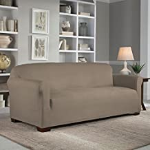 Serta Reversible Stretch Fit Slipcover for Sofa, Brown/Ivory