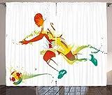 ABAKUHAUS Sala de Adolescentes Cortinas, Jugador de fútbol del Atleta, Sala de Estar Dormitorio Cortinas Ventana Set de Dos Paños, 280 x 175 cm, Multicolor