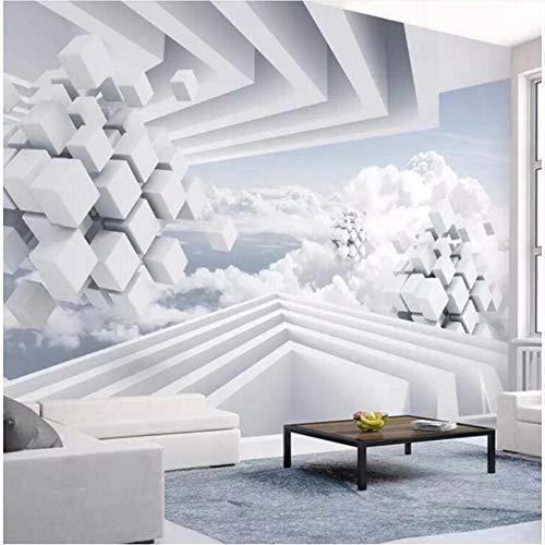 Preisvergleich Produktbild Ytdzsw Wallpaper 3D Foto Wandbild Creative Zusammenfassung Space Blue Sky White Cloud Tv Hintergrundbild Rolls Custom-300X210Cm