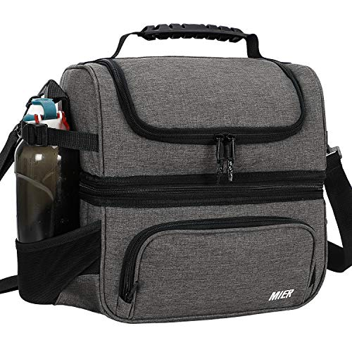 MIER Dual Compartment Lunch Bag Tote with Shoulder Strap for Men and Women Insulated Leakproof Cooler Bag, Grey