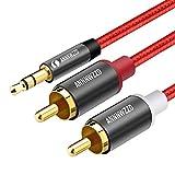 LINKINPERK、RCAオーディオケーブル、2つのRCAフォノYオーディオスプリッタケーブル、サラウンドサウンド、ドルビーデジタル、YスプリッタオーディオAUXケーブルへの3.5mmステレオジャック (0.5M, 赤)