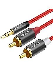 LINKINPERK、RCAオーディオケーブル、2つのRCAフォノYオーディオスプリッタケーブル、サラウンドサウンド、ドルビーデジタル、YスプリッタオーディオAUXケーブルへの3.5mmステレオジャック