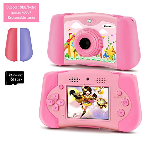 PROGRACE Kinderkamera Handheld-Konsolenspiel für 4-12 Jahre alte Mädchen Spielzeuggeschenke Kinder Kamera-Unterstützung Download 4000+ Spiele MP3-Player Selfie Kids Digitale Videokamera 12M