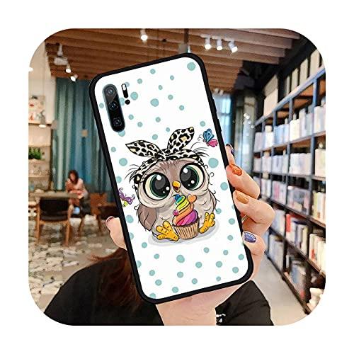 Lindo búho dibujos animados teléfono caso para Huawei honor Mate P 9 10 20 30 40 pro 10i 7 8 a x Lite nova 5t silicona suave funda-a3-huawei p20pro