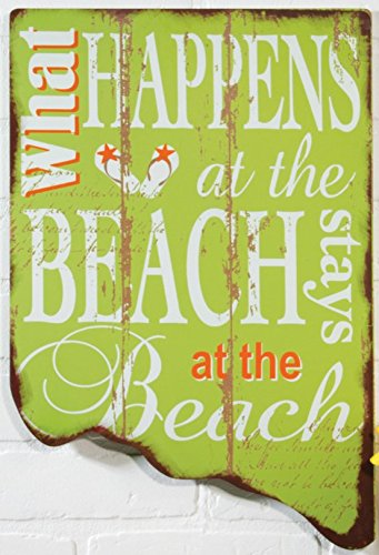 "OHIO WHOLESALE, INC. What Happens On The Beach - Stays On The Beach 12' x 18"" Wood Sign"