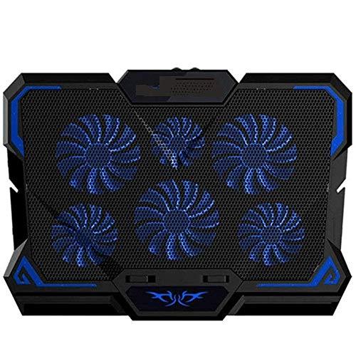 XIXIDIAN Almohadilla de enfriamiento del enfriador de portátiles, 6 ventiladores de hasta 17 pulgadas de enfriador de cuaderno pesado, luces LED azules, 2 puertos USB Base de radiador de la base de la