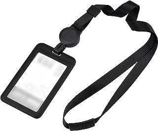 Porte-Badge Rétractable avec Lanière Noire Porte-Badge en Plastique Porte-Carte D'Identité Vertical avec Lanière tour de c...