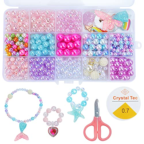 DIY Bead Jewelry Making Kit for Girls Kids with Mermaid Unicorn Starfish Shell Rainbow Butterfly Heart Pearl Charms Beads for DIY Beading Necklace Bracelet Ring Jewelry Supplies Gift, 400Pcs+