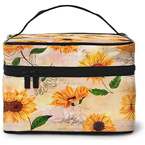 Sac cosmétique de Voyage Vintage Sunflowers Toietry Makeup Bag Pouch Tote Case Organizer Storage pour Femmes Filles