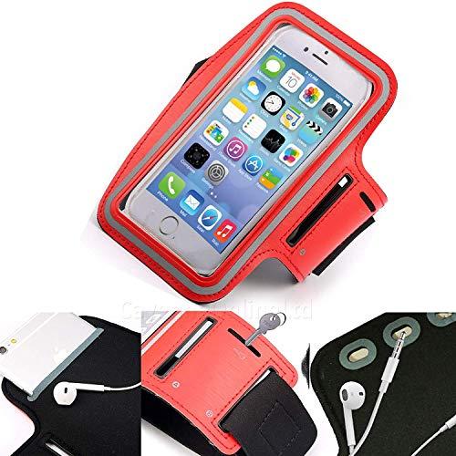 DOT. Universal Handy Halter Schweiß Resistant Laufschuhe Sport Trainieren Fitnessstudio Armband für Oppo Reno oder Jedes Display zwischen 5.2-5.8 Zoll - Schlüsselhalter - Verstellbarer Gurt - Rot