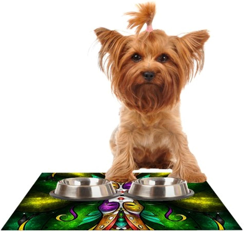 Kess InHouse Mandie Manzano Topsy Turvy  Feeding Mat for Pet Bowl, 24 by 15Inch