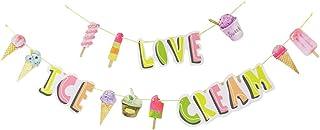 PRETYZOOM Hängande glass vaxkaka boll papperspapper sommar tema papper glass banderoll för skola sommar barn födelsedagsfe...