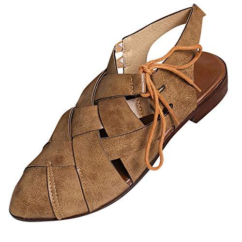 Andalias De Las Mujeres Bohemias,Caqui Mujeres Moda Pisos Punta Estrecha Zapatos De Tacón Bajo Con Cordones Zapatos Únicos Sandalias Romanas Color Sólido Cómodo Retro Al Aire Libre Plano Con Sanda