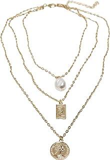 Urban Classics Collar unisex con capas de perla básica, cadena de bisutería para hombres y mujeres, talla única