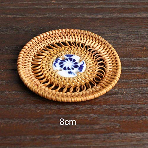 Fulinmen Placemats And Coaster Sets Natural Rattan Coaster Tea Cup Mat Pot Heat Resistant Cup Mug Mat Coffee Tea Drink Posavasos Placemat Kitchen Decor-2 Tablets_Style A5 (2 Pieces)