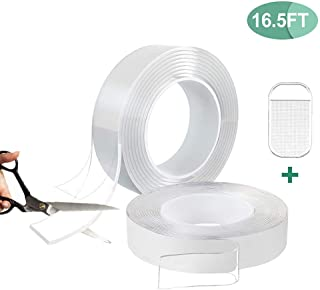 Multipurpose Double Sided Mounting Tape - Washable Traceless Clear Adhesive Tape - Reusable Removable Gel Grip Tape (16.5ft)