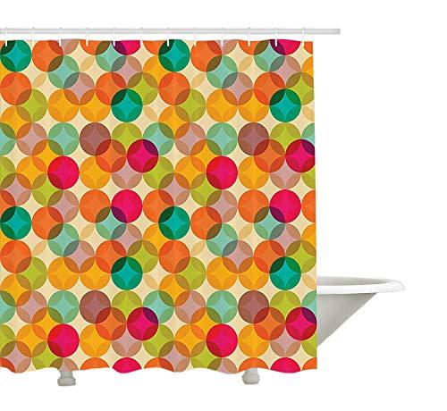 Yeuss Maison Decor Collection, vintage abstraite d¨¦corative mosa?que Cercle tendance sympathique rond d'image, tissu de polyester de salle de bain Rideau de douche, avec ensemble de crochets