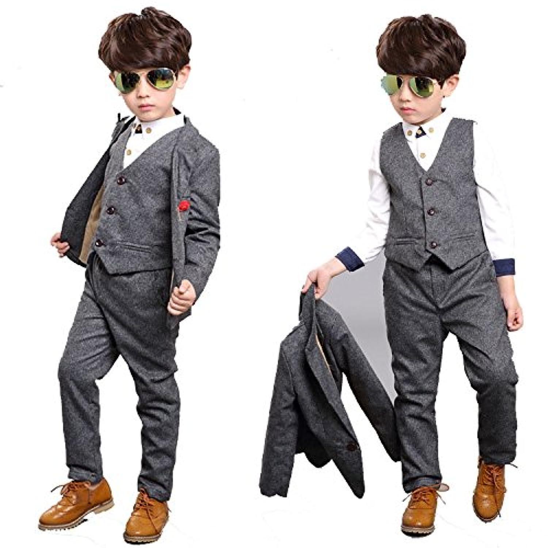 Vogue(ボーグ) ジャケット+パンツ+ベスト+飾り物 4点セット キッズ 男児 子供 男の子 英国風 こどもスーツ フォーマルスーツ 初節句 紳士服 七五三 子供 ベビー 入学式 誕生日 入園式 韓国子供服 2色