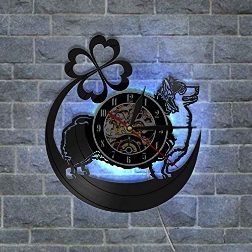 TJIAXU Vinyl Wanduhr Welsh Corgi Dog Clock für Wohnzimmer Silent Hanging Clock mit Regenbogenfarbe Light Home Decor