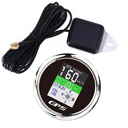 WonVon 85mm Waterproof 160MPH Car Boat Digital GPS Speedometer Odometer Voltmeter Speed Gauge for Car Truck Motorcycle Marine ATV