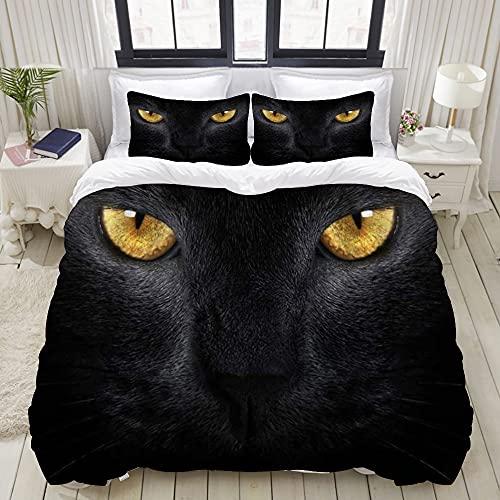 Luoquan Ropa de Cama - Funda nórdica Halloween Evil Black Cat Eyes Terrible Horror Resentido Halloween Microfibra Nuevo Set de Tres Piezas Funda de edredón 200 x 200 cm