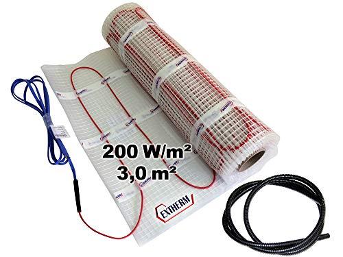 EXTHERM TWIN Heizkabel-Matte Für Elektrische Fußboden-Heizung 3m² –- Installation – 200W/m2 -- Komfortable Wärme In All Ihren Räumen – Erneuerbare Energielösung 3m²