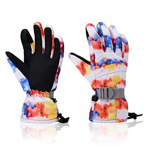 Yidomto Ski-Handschuhe, wasserdicht, warm, Touchscreen Schneehandschuhe für Herren Damen Jungen Mädchen Jugendliche, Mädchen, Weiß Tintenstrahldrucker, M(for Women or Boys 14-15 Years)