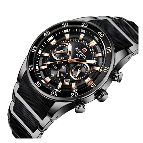 JIADUOBAO -S Brand - Reloj de cuarzo para hombre de lujo, acero de silicona, cronógrafo, impermeable, deportivo, reloj de pulsera Dropshipping S (color: negro)