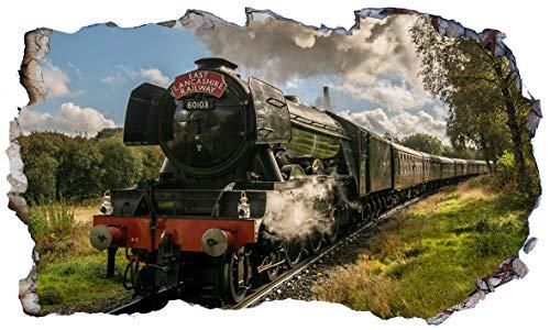 Chicbanners The Flying Scotsman Steam Train 3D V005 Magic Window Wall Sticker Selbstklebendes Poster Größe 1000 mm breit x 600 mm tief (groß)