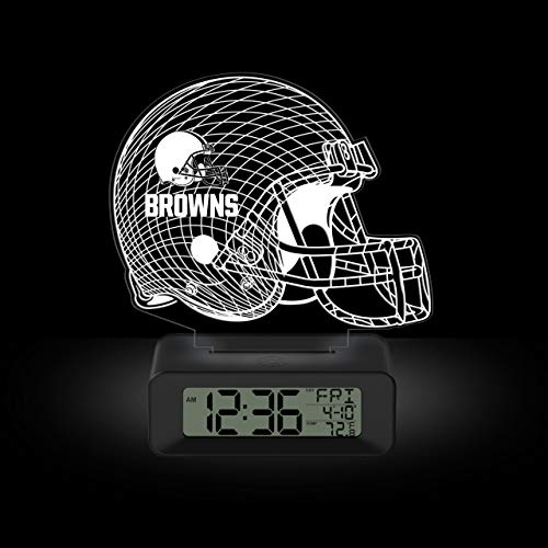 NFL Team Logo LED Illusion Alarm Clock by Game Time - Cleveland Browns