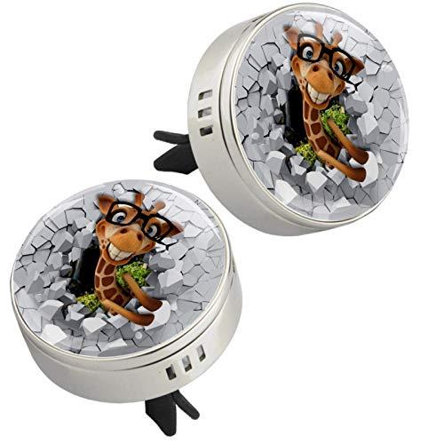 Z&Q Difusor de aromaterapia para Coche Gafas Ciervo Largo ambientador con Clip de ventilación y Almohadillas de Recambio para el Interior del Coche 2 Unidades 33.8mmX46.4mm