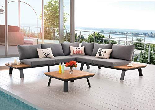 AISER Royal Garten Lounge Set -Samoa- Luxuriöse Sitzecke mit Kaffee Tisch aus hochwertigem Misanbar Kunstholz Gartenmöbel Set