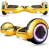Magic Way Hoverboard Tout Terrain - 6,5' - Bluetooth - Moteur 700 W - Vitesse 15 km/h - LED - Skateboard Électrique Pas Cher Auto-Équilibré - pour Enfants et Adultes - Or Chromé