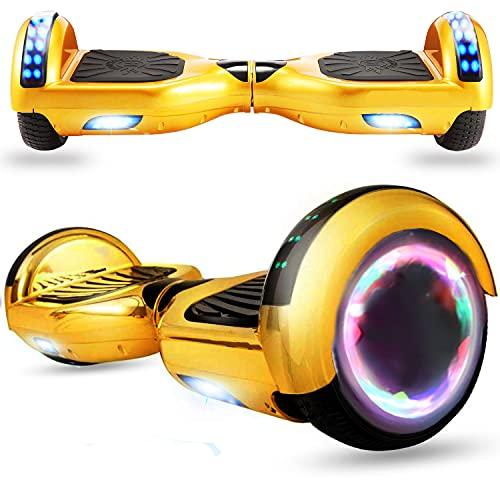 HappyBoard Hoverboard - 6.5' - Bluetooth - Motor 700 W - Velocidad 15 km/h - LED - Patinete Eléctrico Auto-Equilibrio - para niños y Adultos - Oro Cromado