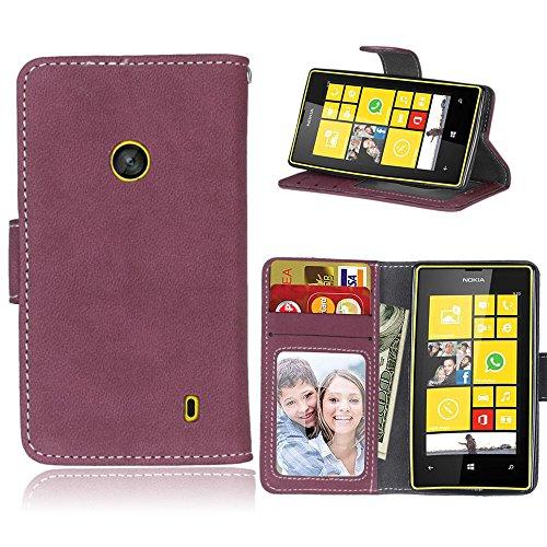 Funda Nokia Microsoft Lumia 520,Bookstyle 3 Card Slot PU Cuero Cartera para...
