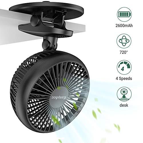 Clip Ventilatore,Easyacc Ventilatore Tavolo 2600mAh Clip USB Ventilatore con Rotazione di 720° Portatile Ultra-Silenzioso Ventola di Raffreddamento per Casa,Ufficio,Letto,Camera da letto e altro-Nero