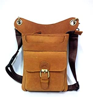 Leather Men's Bag Thigh Hem Leg Bag Casual Motorcycle Messenger Bag Messenger Bag Shoulder Bag Travel Wallet Purse (Color : Yellow, Size : S)