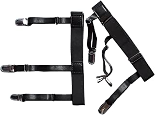 Demana Generic 1 Pair Mens Adjustable Invisible Shirt Stay Shirt Garter Belt Non-slip Clamps Accessories (Style B)