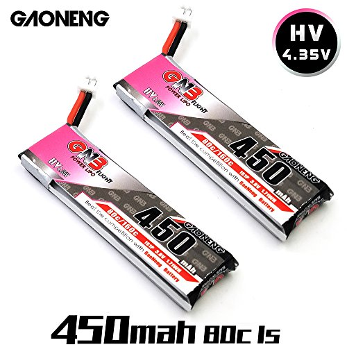 2pcs 450mAh 1S HV 3.8V 4.35V LiPo-Batterie 80C JST-PH 2.0 PowerWhoop mCPX-Anschluss für Inductrix FPV Plus Kingkong Winzig 7 Beta75S Micro FPV Racing Drone etc